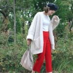 冬の服装♡白に合う色×赤(ボルドー)コーデ|ニット・カーディガン・コートなど