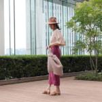 【気温27度の服装】ピンクやブラウンのくすみ色を使った大人の初夏コーデ